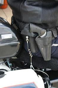 Airbag jacket in use by Tokyo Police.